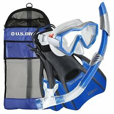 US Divers Anacapa Mask, Snorkel, Trek Fins & Deluxe Mesh Bag - NEW