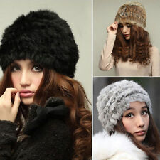 Women Russian Real Rabbit Fur Knitted Cap Nice Lady Winter Warm Beanie Hat