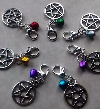 Small Pentagram Centred Bell Pentacle Clip on Charm*Cat collar*Dog collar*Bag