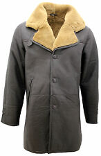 ROY Men's Warm Brown Long Real Shearling Ginger Sheepskin Leather Cromby Coat