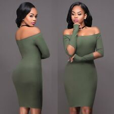 Sexy Womens Off Shoulder Long Sleeve Knit BodyCon Slim Party Sweater Mini Dress