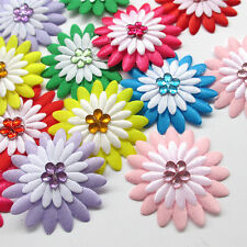50/250pcs Flet Padded Sunflower Appliques Rhinestone Craft  Wedding 2 Tone A0544