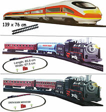 XMAS KIDS CLASSIC VINTAGE TRAIN SET TOY BATTERY OPERATED SOUNDS LIGHTS GIFT