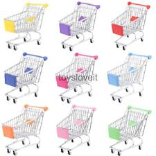 Mini Supermarket Handcart Shopping Cart Storage Trolley Kids Pretend Play Toy