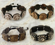 Peace Om Yin Yang Carved Yak Bone Tibetan HandCrafted Stretchy Bracelet