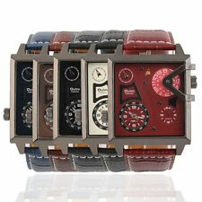 Oulm Steel Men Square Case Dual Movement PU Leather Belt Quartz Watch 3577 FE