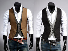 NEW Mens Jacket Suit Slim Fit Vest Casual Business Formal Vest Waistcoat Tops us