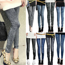 New Ladies Denim Look Slim Skinny Jeans Pants Leggings Floral Jeggings One Size