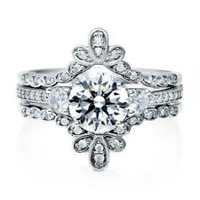 BERRICLE Sterling Silver Round CZ 3-Stone Engagement Ring Set 1.74 Carat
