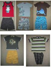 NEXT H&M monkey PIRATE shark  t-SHIRT QUIKSILVER plaid SHORTS set BOYS 2T 3T LOT