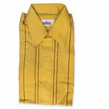 Mens Vintage Pleated & Ruffled Tuxedo Shirt, Mustard Gold NEW