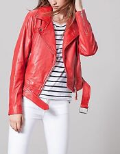 STRADIVARIUS WOMAN NEW FW 2016 RED LEATHER BIKER JACKET REF: 02558209 SIZES: S-L