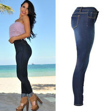 Women Stretch Pencil Jeans Casual Warm Slim Fit Skinny Pants High Waist Trousers
