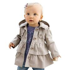 Muti-style Toddler Baby Girls Button Down Jacket Trench Child Kids Hooded Coat