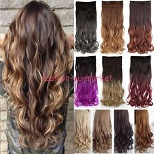 Hot 3/4 Full Head Straight Clip-in Dip Dye Ombre As Human Hair Extensions Curly