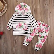 2PCS Newborn Infant Baby Kid Hodded Tops+Long Pants Boy Girl Outfits Set Clothes