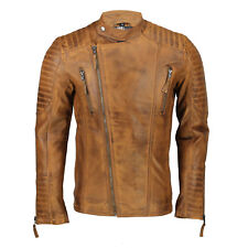 New Mens Real Leather Slim Fit Biker Jacket Vintage Hand Painted Tan Brown Retro