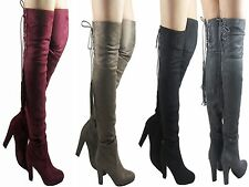 LADIES WOMENS THIGH HIGH LACE UP OVER THE KNEE BLOCK HEEL LONG BOOT SHOE SIZE2-7