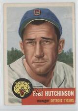 1953 Topps #72 Fred Hutchinson Detroit Tigers Baseball Card