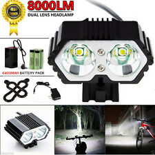8000LM 2x CREE XM-L T6 LED Bike Bicycle Cycling Torch Headlight Lamp Headlamp US
