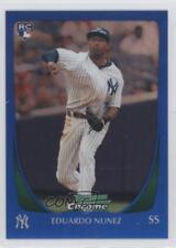 2011 Bowman Chrome Blue Refractor 215 Eduardo Nunez New York Yankees Rookie Card