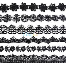 15 Yards Black Embroidered Lace Trim Neckline Applique Ribbon Wedding Sewing New
