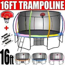 16ft NEW Round Trampoline FREE Basketball Set+Safety Net+Spring Pad Cover+Ladder
