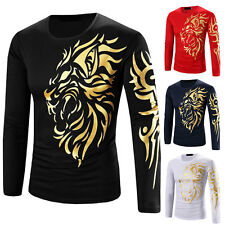 New Mens Tattoo Printed Casual Long Sleeve Crew Neck Tee T-Shirt Slim Fit Tops