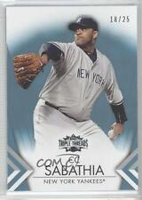 2012 Topps Triple Threads Sapphire 28 CC Sabathia New York Yankees Baseball Card