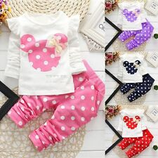 2PCS Toddler Kids Baby Girls Long Sleeve Outfits Cotton Tops +Pants Clothes Set