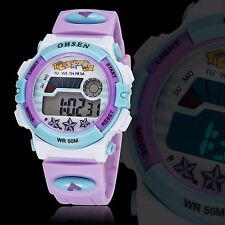 OHSEN Child Boy Girl Sport EL Digital Alarm Week Rubber Quartz Watch Waterproof
