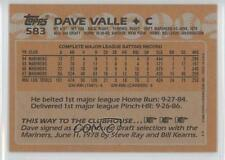 1988 Topps Blank Front #583 Dave Valle Seattle Mariners Baseball Card