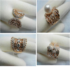 Austrian Crown Clear Champagne Crystal Victorian Bead Rose Gold Tone Wide Ring