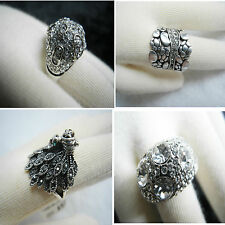 Austrian Clear Crystal Nugget Victorian Peacock Silver Ring