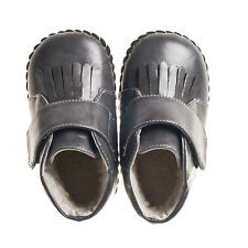 Little Blue Lamb Boys Soft Sole Grey Baby Boots.