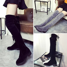 Fashion OL Women Over The Knee Thigh High Faux Suede Stretch Low Heel Flat Boots