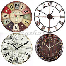 30cm Extra Large Round Wooden Wall Clock Vintage Retro Antique Distressed Style
