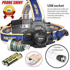 Rechargeable XM-L T6 10000LM Headlamp Headlight Head Light LED USB+18650 Battery