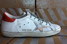 Golden Goose Deluxe Brand Super Star Sneakers White Leather Red