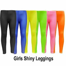 Girls Footless Dance Leggings Nylon Kids Gymnastic Shiny Legging 7-13 Yrs
