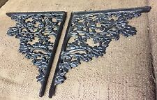 2 Vintage Ornate Cast Iron Shelf Brackets Leaves and Flowers