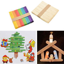 50/100Pcs Pop   Wooden Popsicle Sticks for Party Kids DIY Crafts Ice Cream