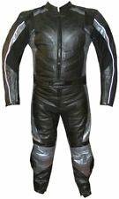 New Men's 2PC Motorcycle Leather Racing Armor Suit 2 PC Two Piece Silver US