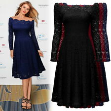 Women's 1950s Floral Lace Off Shoulder Evening Party Casual A-line Pleated Dress