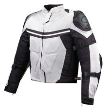 MESH MOTORCYCLE JACKET STREET RIDING RAIN WATERPROOF WHITE