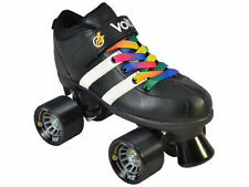Black Riedell Volt Quad Roller Derby Speed Skates Skates 2 Laces Rainbow & White