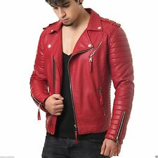 Mens Boda Red Quilted Real Lambskin Leather Jacket Motorcycle Biker Slim fit X02