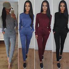 2PCS Womens Skinny Jumpsuit Playsuit Ladies Long Sleeve Slim Casual Tracksuit