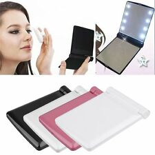 Portable LED Make Up Mirror Cosmetic Folding Compact Pocket with 8 LED Lights