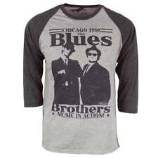 Mens Retro 80's The Blues Brothers In Action Raglan Heather Grey NEW Elwood Jake